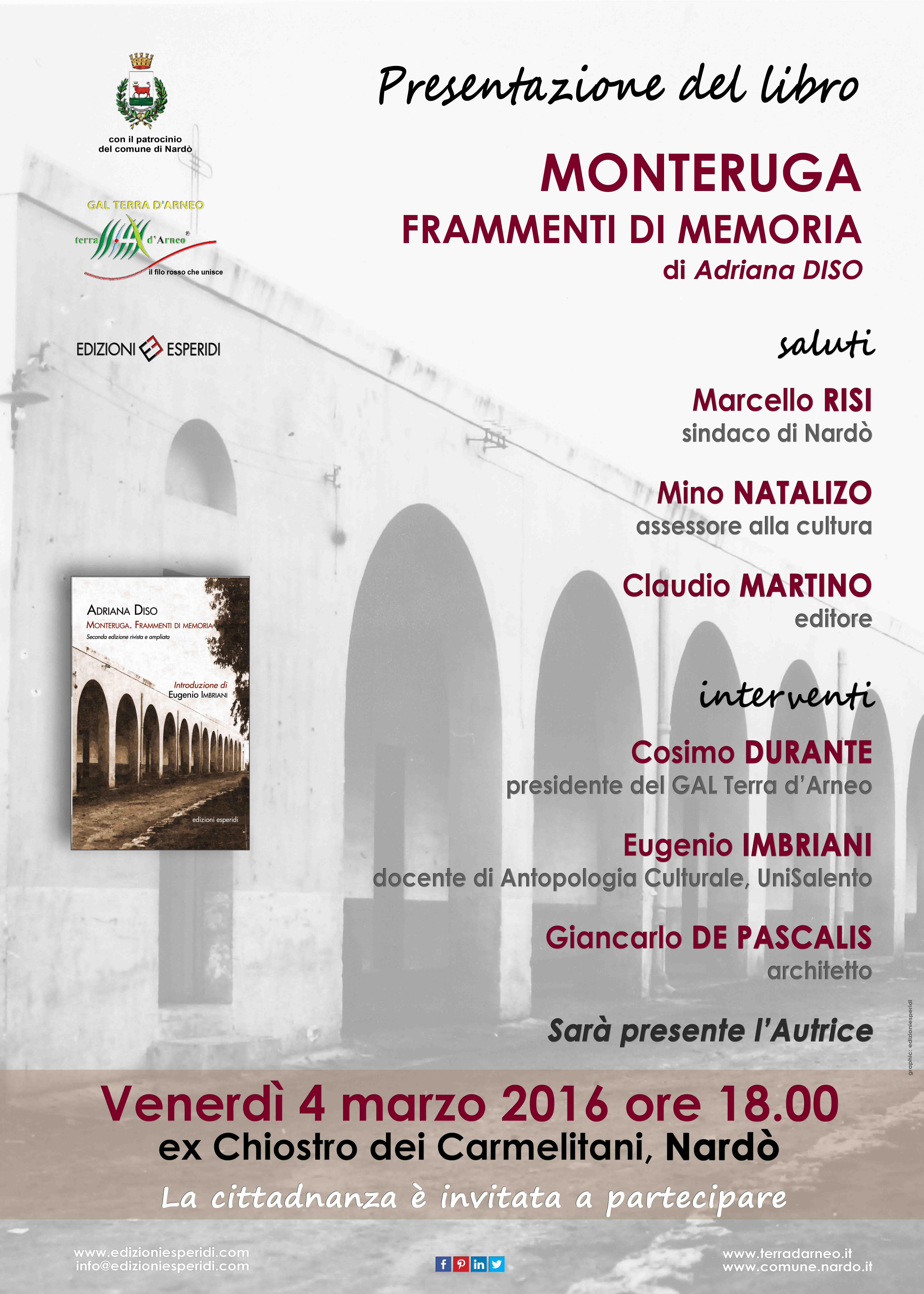 """Si presenta a Nardò il libro di Adriana Diso """"Monteruga. Frammenti di memoria"""""""