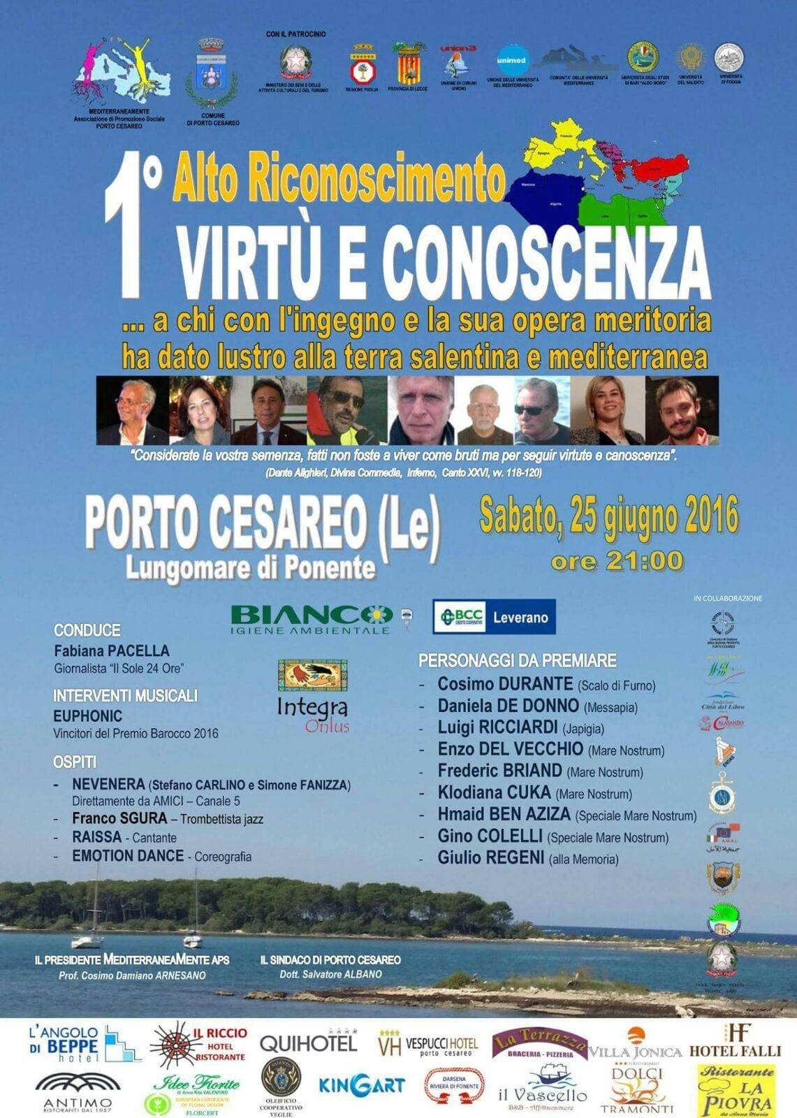 Il presidente del GAL Terra d'Arneo premiato al Virtù e Conoscenza, l'Alto Riconoscimento per l'intercultura nel Mediterraneo