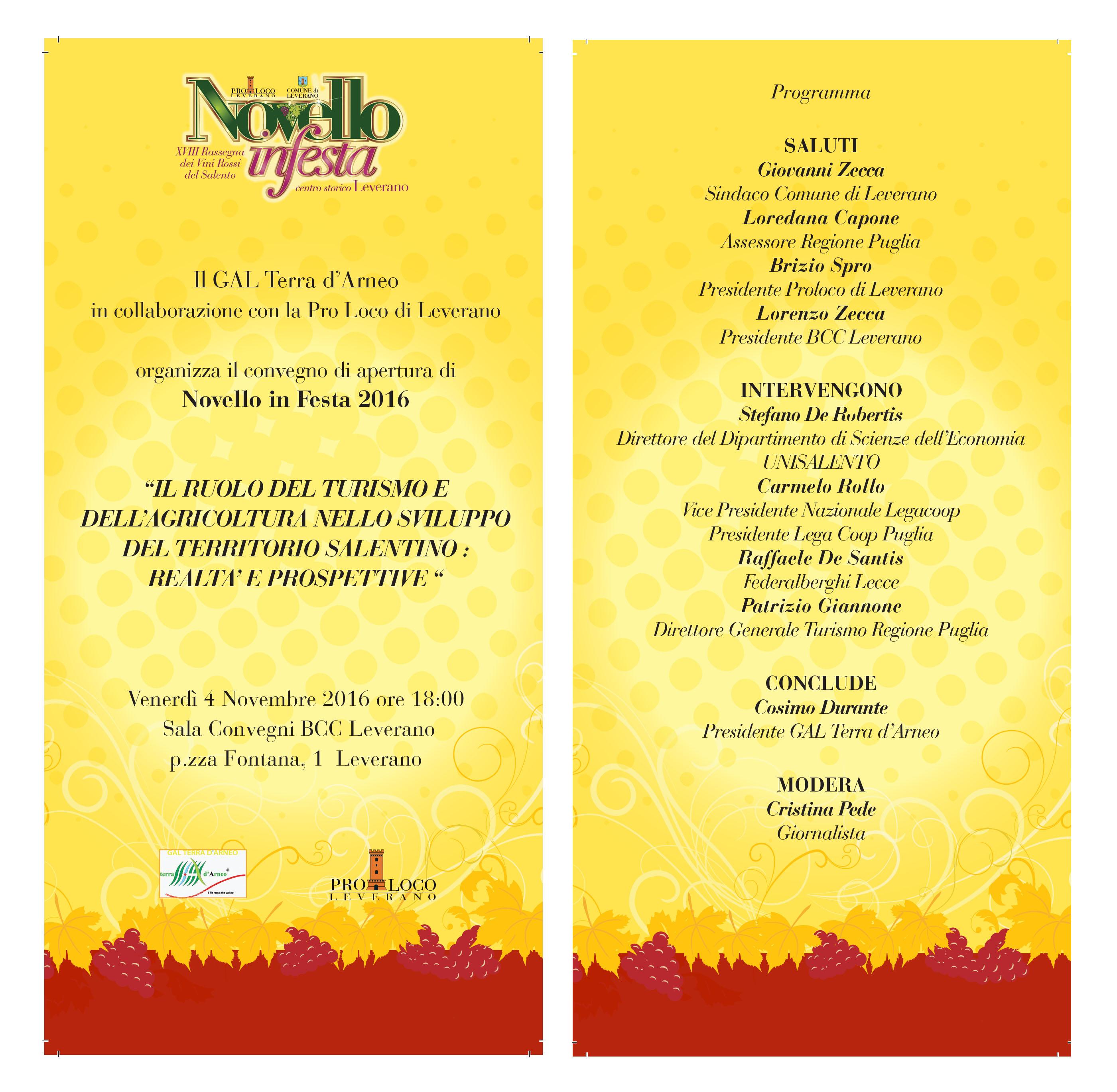 A cura del GAL il convegno di apertura del Novello in Festa 2016