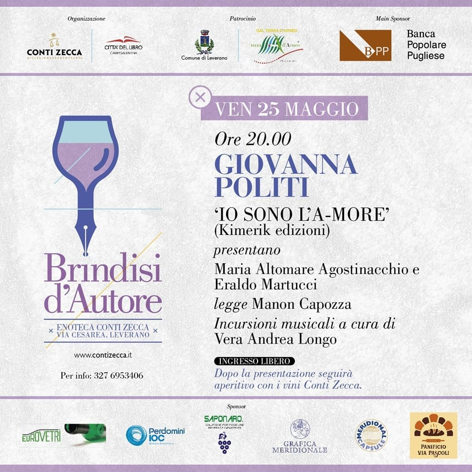 """Brindisi d'autore: nuovo appuntamento con Giovanna Politi ed il suo romanzo """"Io sono l'a-more"""""""