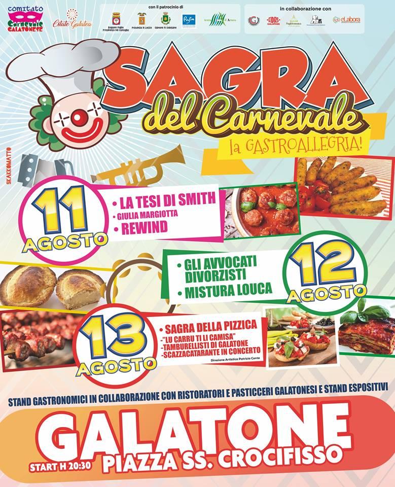 """Al via la quarta edizione de """"La Sagra del Carnevale"""" di Galatone"""