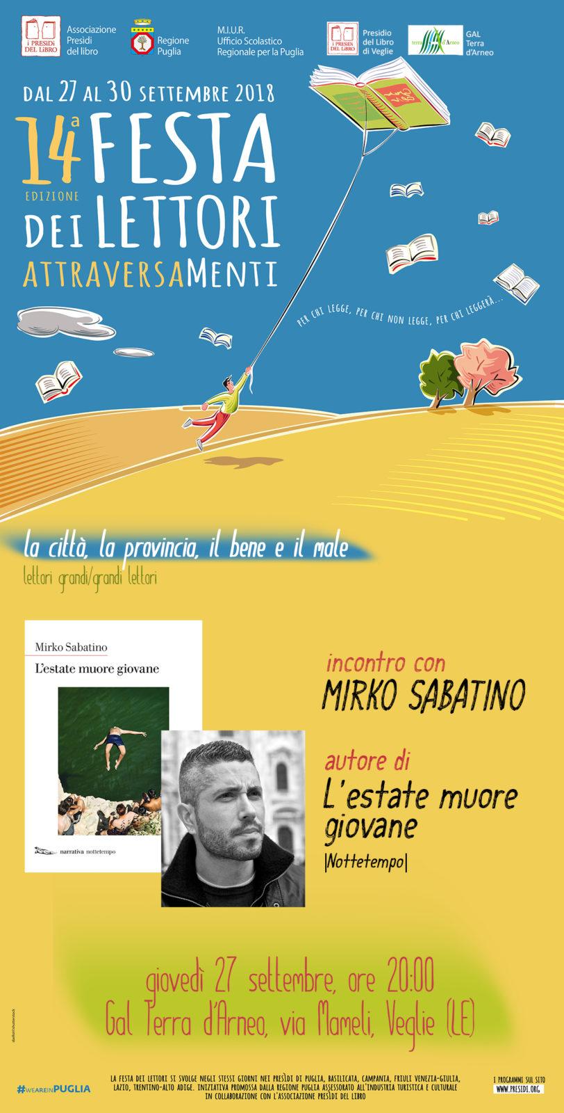 Lo scrittore Mirko Sabatino a Veglie per raccontare la provincia pugliese degli anni Sessanta in occasione della Festa dei Lettori