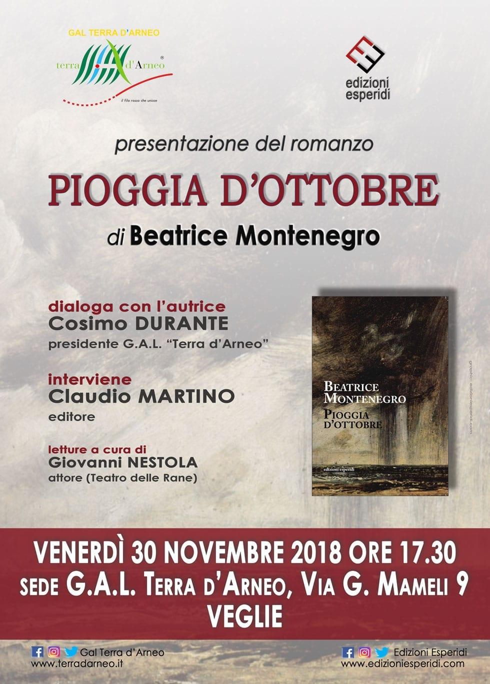 """""""Pioggia d'Ottobre"""" - Si presenta al GAL Terra d'Arneo il romanzo di Beatrice Montenegro"""