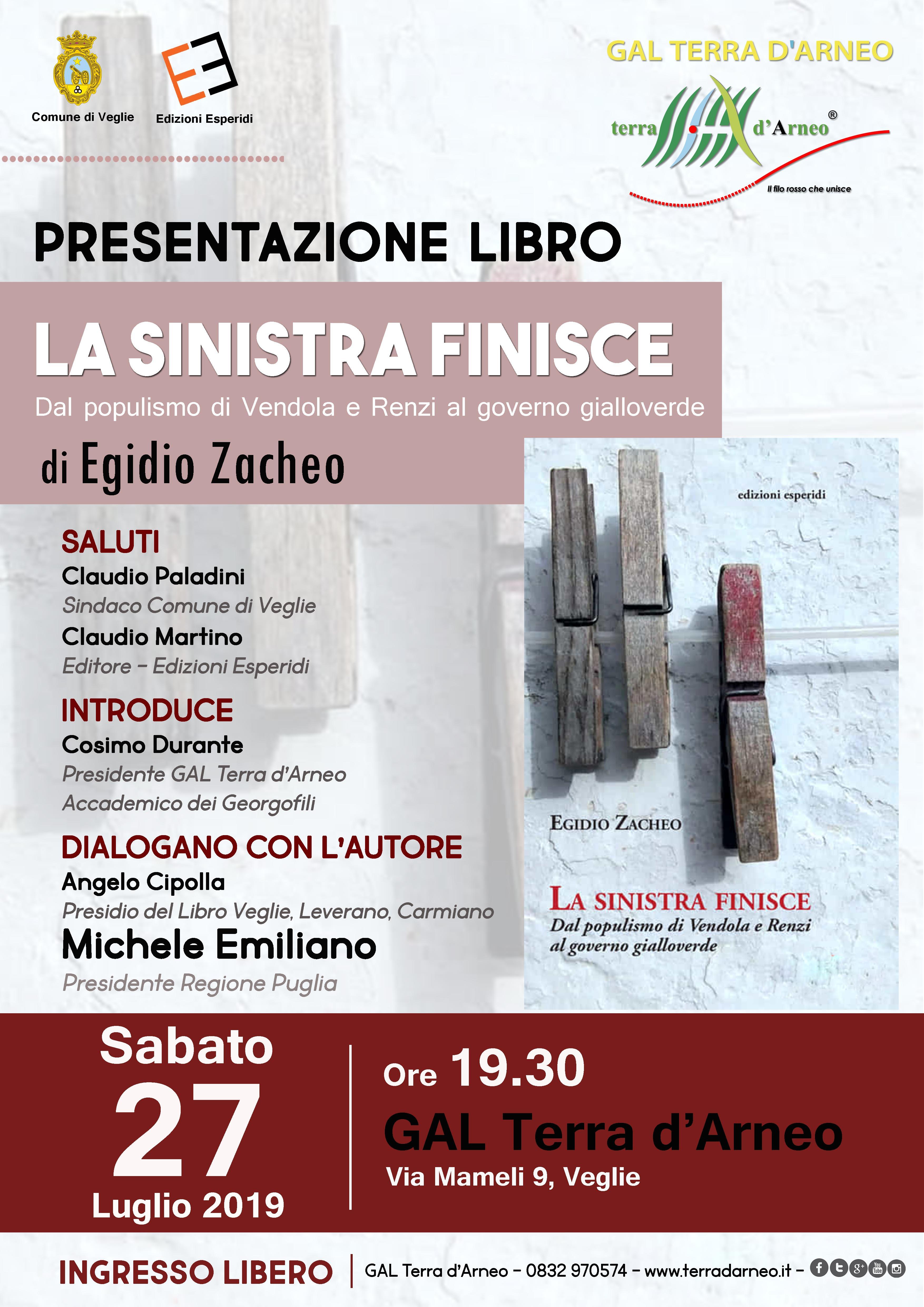"""""""La Sinistra finisce"""": presentazione libro di Egidio Zacheo"""