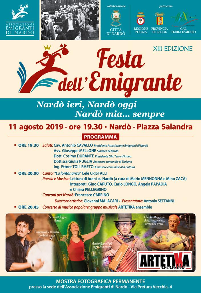 A Nardò la XIII edizione della Festa dell'Emigrante