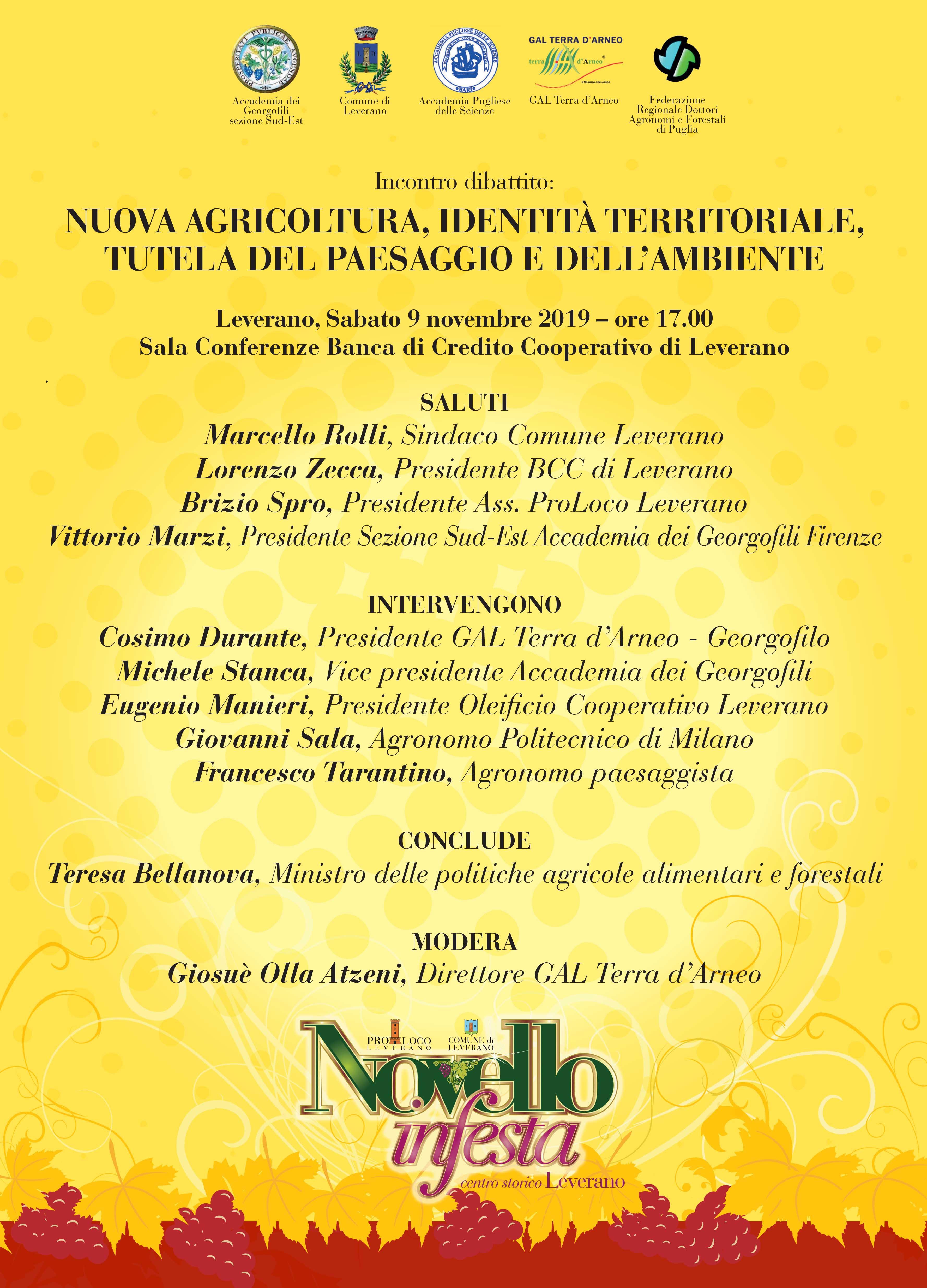 Novello in festa - Il GAL organizza incontro su tutela del paesaggio alla presenza del Ministro Teresa Bellanova