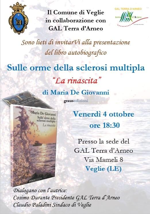 """Al GAL Terra d'Arneo la presentazione del libro di Maria De Giovanni """"Sulle orme della sclerosi multipla – La rinascita"""""""